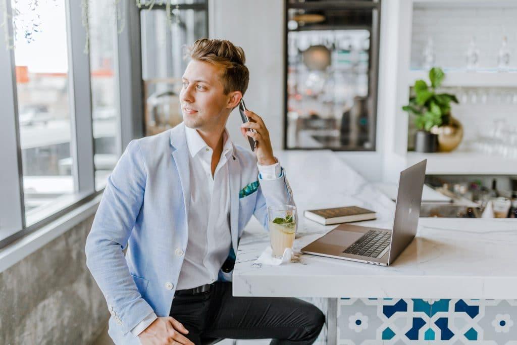 businessman at his computer