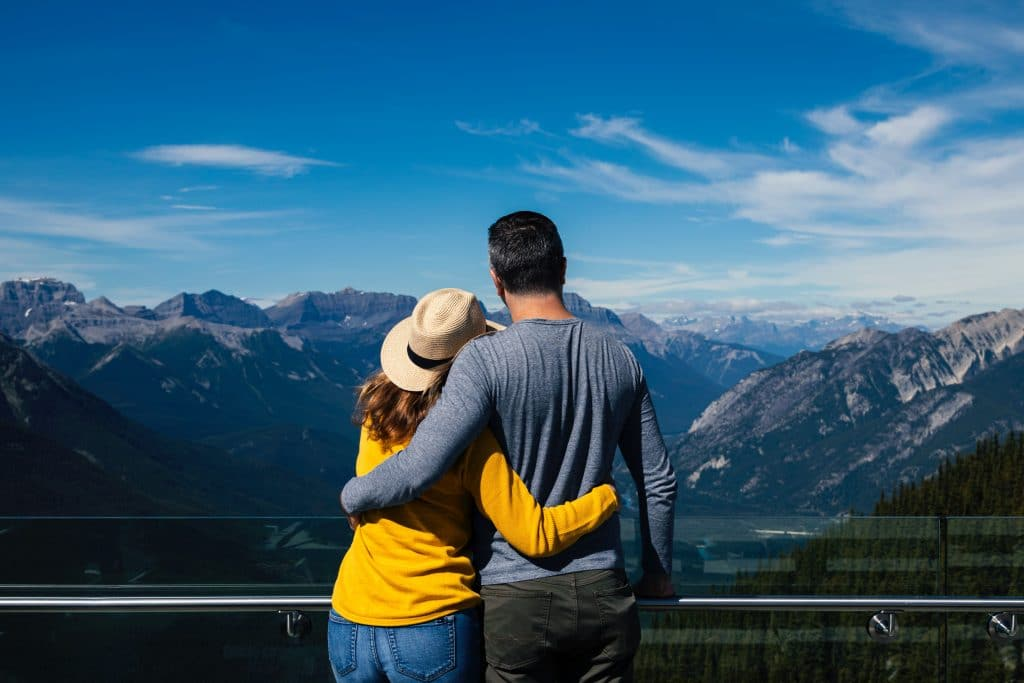 couple at a mountain lookout