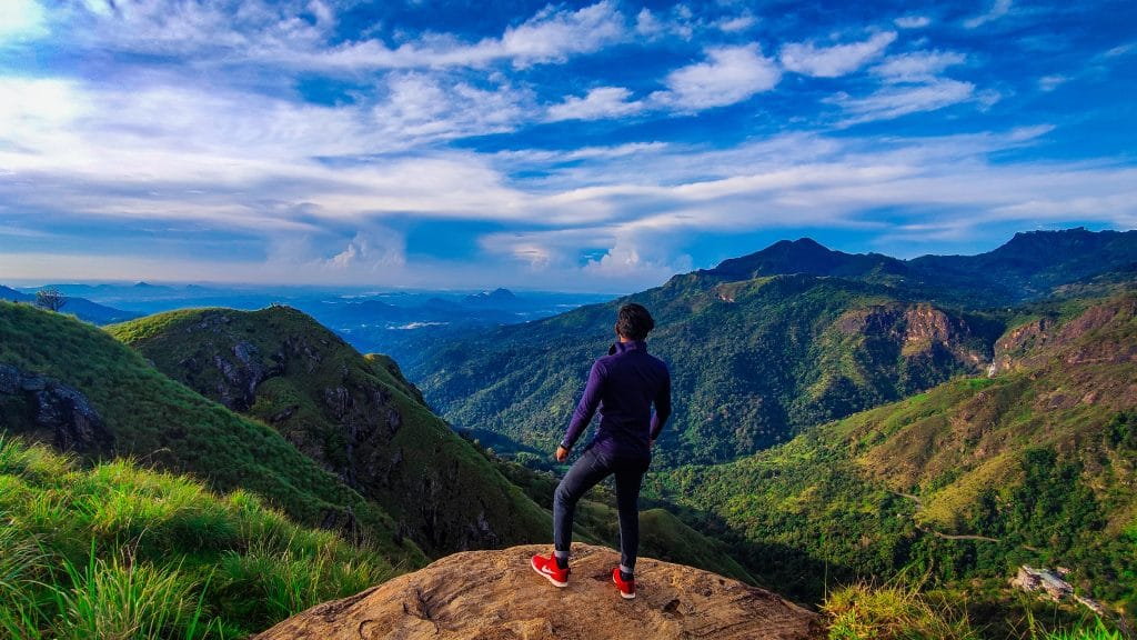 man standing at a mountain lookout